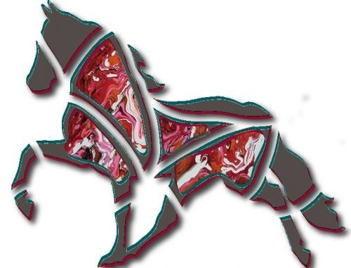 curved canvas lanigan abstract horse design