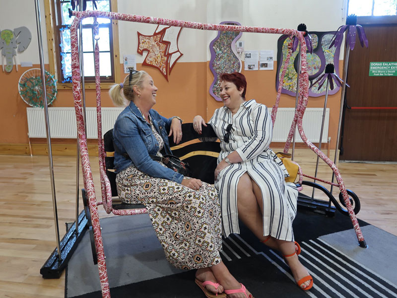 Bridget & Mary on the swing at Thomastown Creative Arts Festival 2018.LaniganAbstracr.com